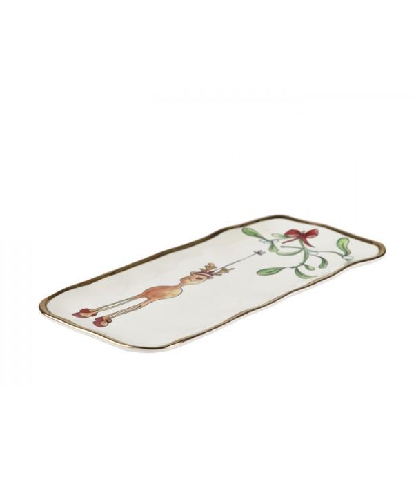Bord, rechthoekig - Jingle bell - Porselein - 26 x 12 cm