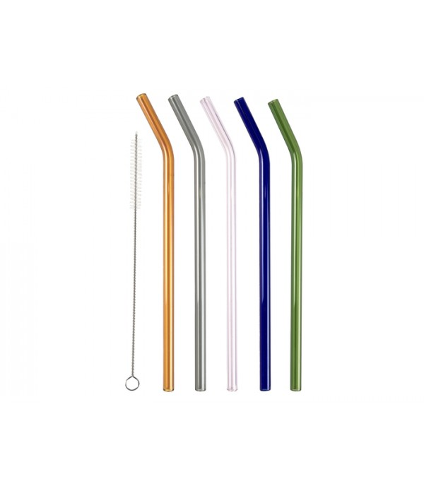 Display 60 stuks rietjes glas 215 mm/8 mm - assort...