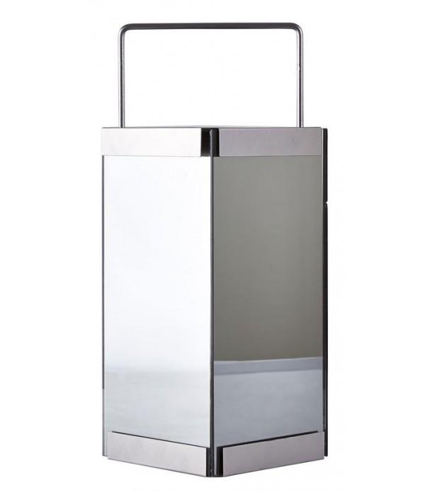 Lantaarn - met LED licht - metaal - glas - smoky