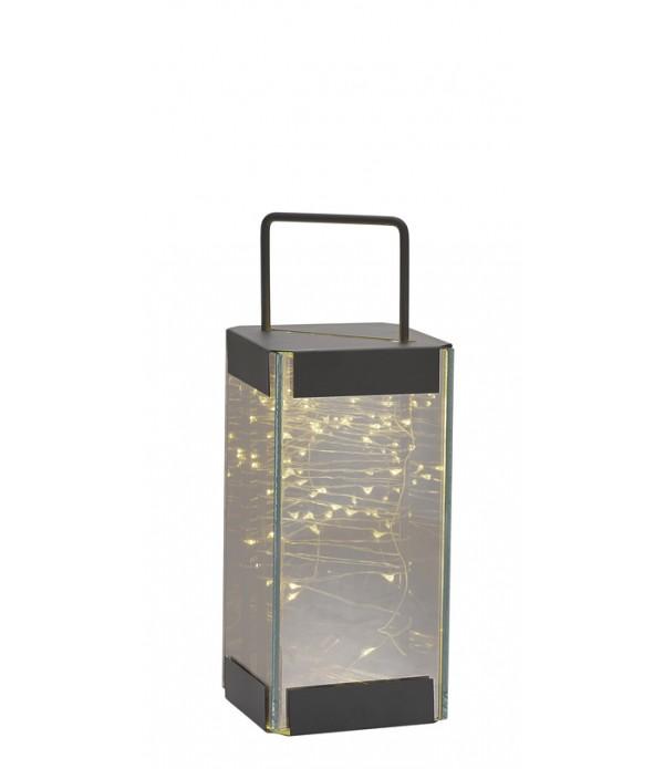 Lantaarn - met LED licht - 10 x 10 x 25 cm
