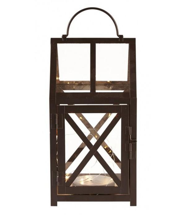 Lantaarn - met LED licht/timer - 14,5x14,5x28 cm
