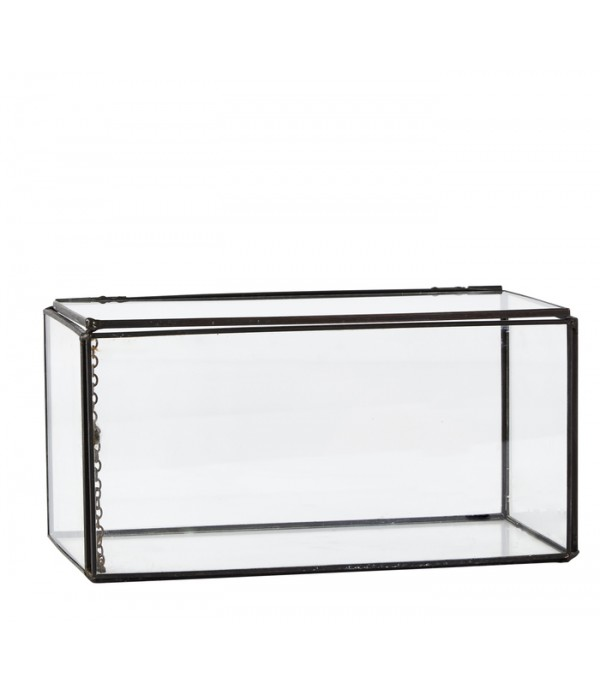 Glazen display box 20 x 10,2 x 10,5 cm - titanium