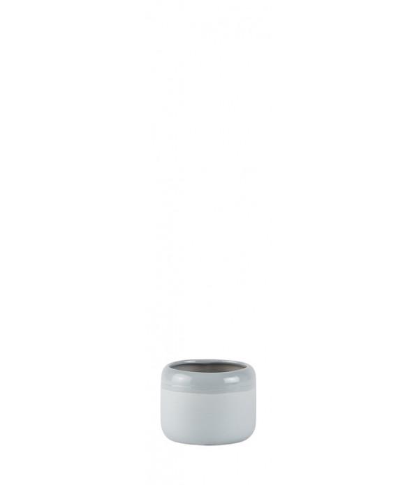 Bloempot - Ceramic - light grijs - D 8,0cm -  H 6,...