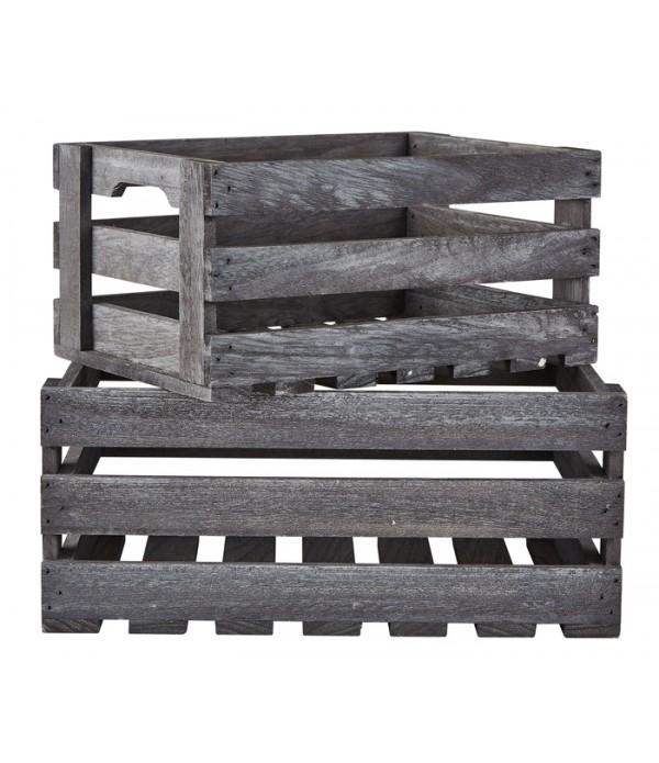 Box - 2 pcs. - Wood - grijs - H 15,0cm -  L 35,5cm...