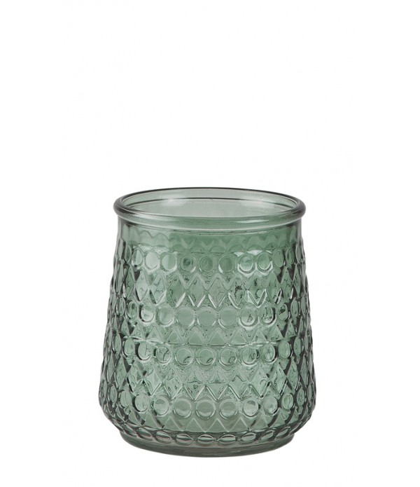 Lantaarn - glas - Green - D 12,5cm - H 14,0cm -  P...
