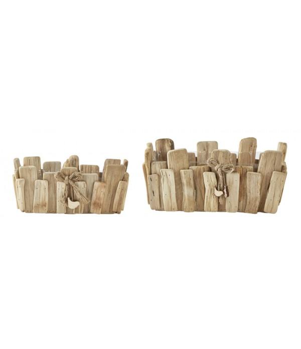 Bloempot - 2 pcs. - hout - Natural - Drifthout -  ...