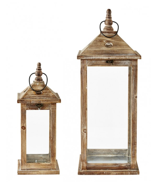 Lantaarn - 2 pcs. - hout - Glass - Natural -  H 58...