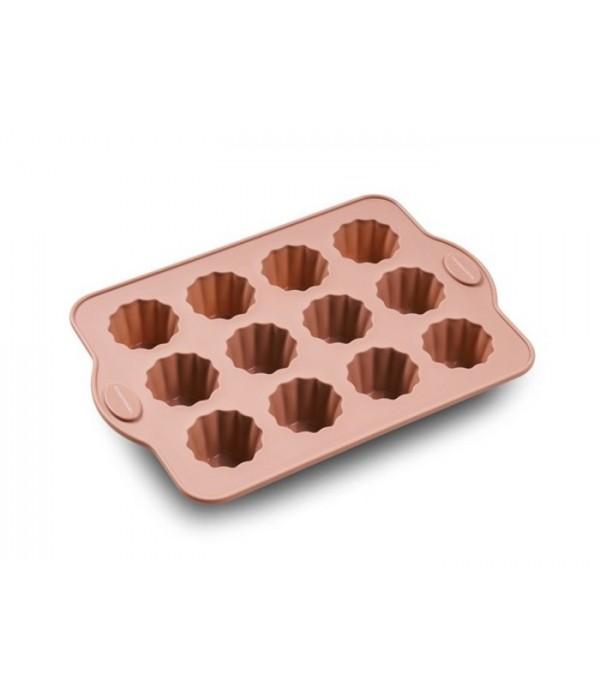 Muffinvorm gerild 12 vormen rosa silicone