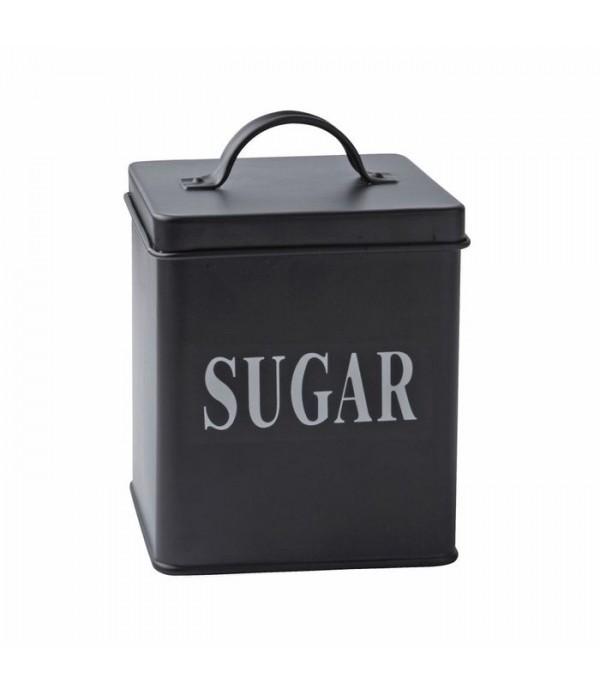 Voorraadbox - suiker - metaal - zwart - H 14,0cm -...