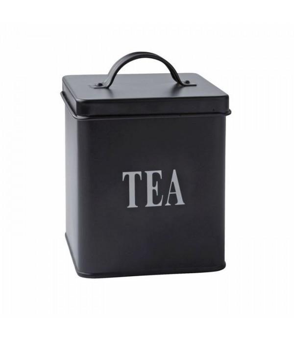 Voorraadbox - thee - metaal - zwart - H 14,0cm - L...