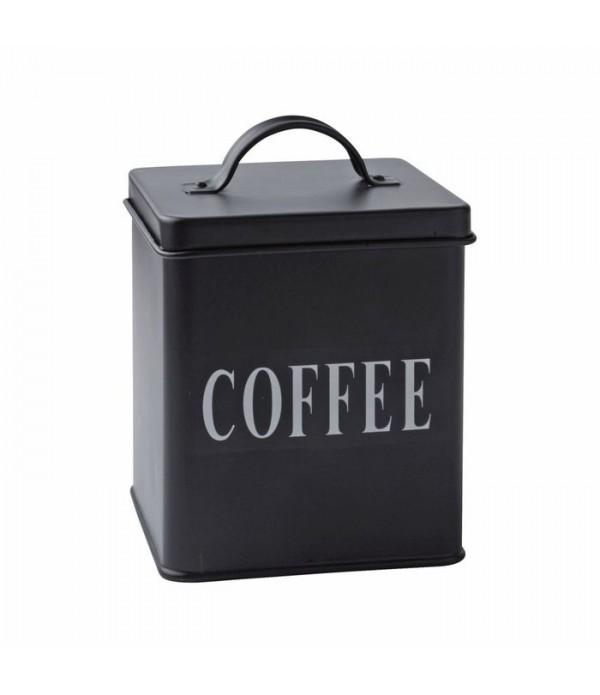 Voorraadbox - koffie - metaal - zwart - H 14,0cm -...