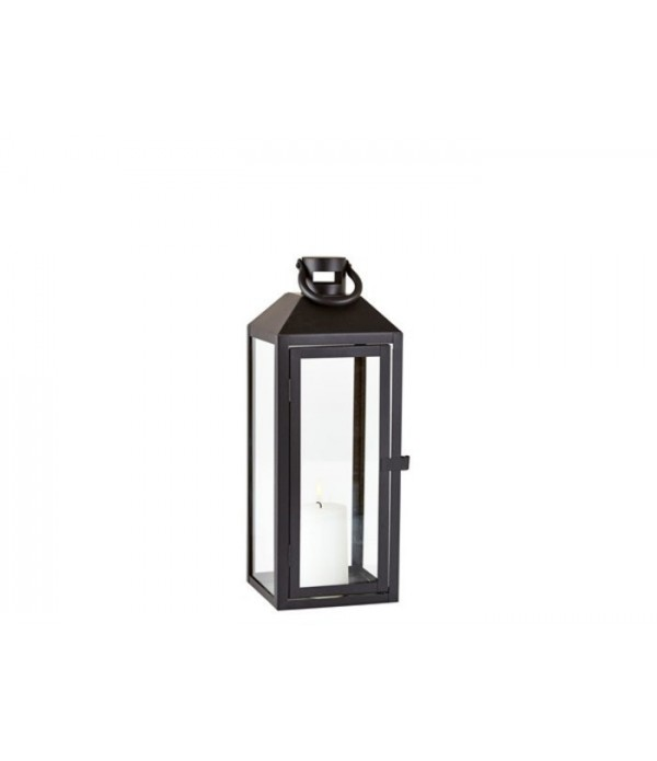 Lantaarn 162517 - metaal - glas - zwart - helder -...