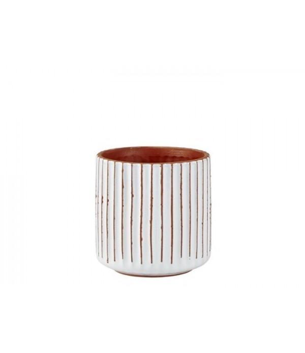 Bloempot 482028 - aardewerk- Natural - wit -  D 13...
