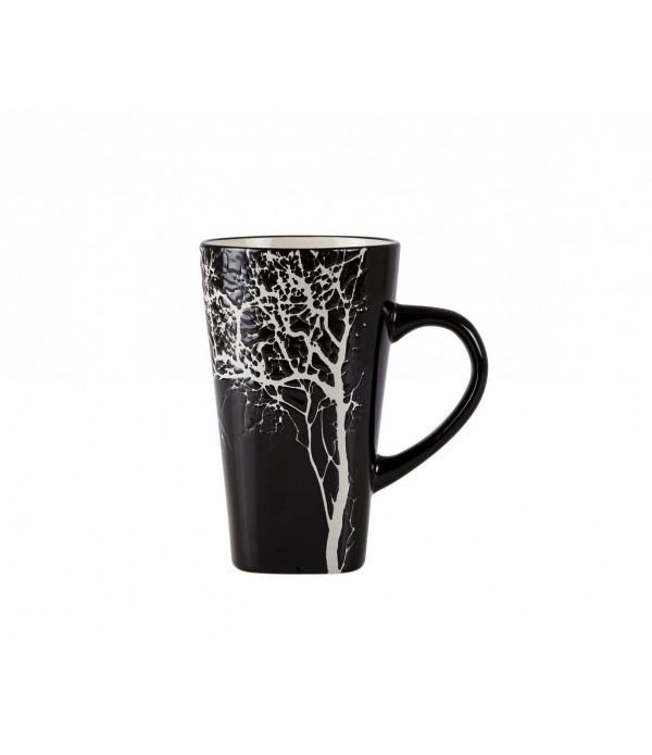 Beker 251123 - met boom - aardewerk - zwart
