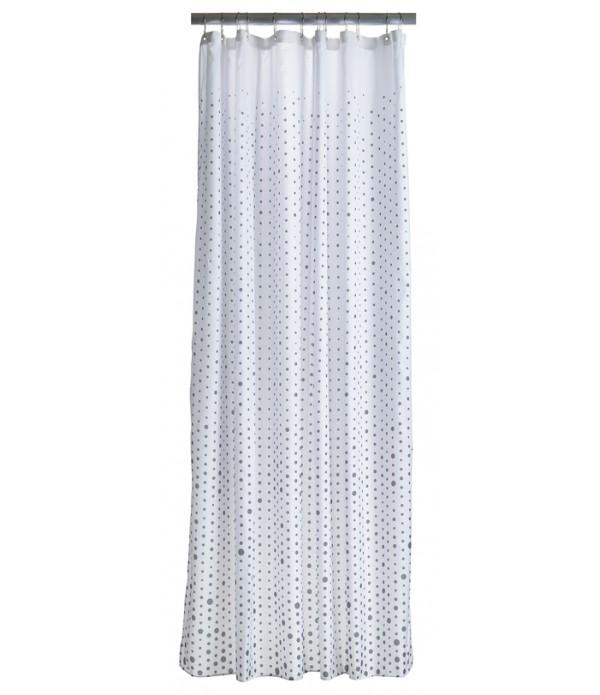 Douchegordijn 372048 - grijs - wit - druppels