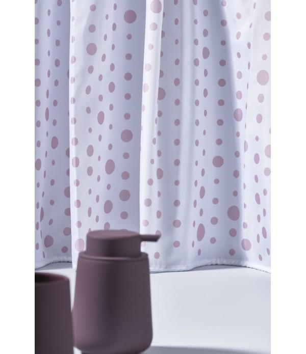 Douchegordijn 372049 - roze - wit - Drops
