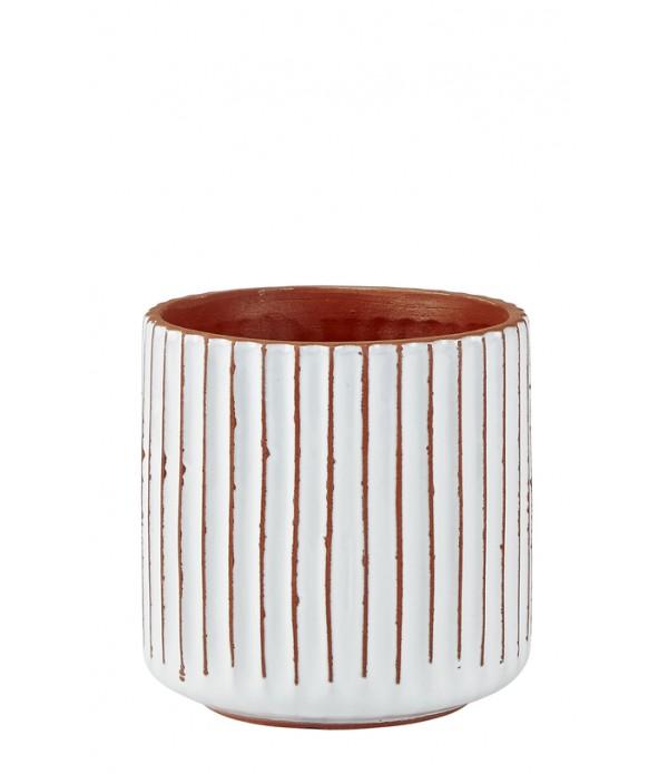 Bloempot - aardewerk- Natural - wit -  D 13,0cm - ...
