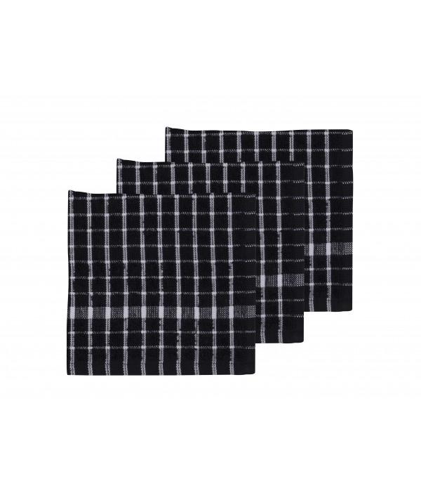 Gastendoekje set van 3 - 30x30 Simplicity zwart/wi...