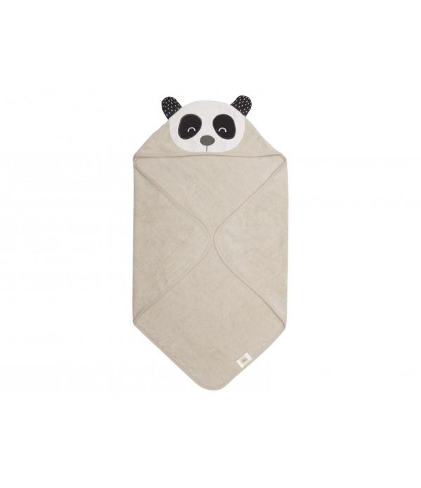 Baby Handdoek - 80x80cm - Penny Panda - Natuur/Gri...