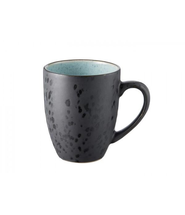 Mok 30cl met handgreep  zwart/lichtblauw