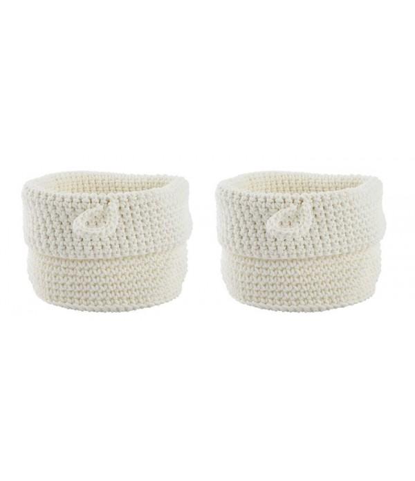 Mand Confetti set van 2 stuks - wit