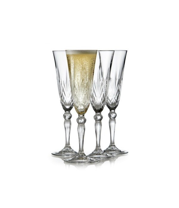 Champagneglas, 4 stuks - Melodia - Kristalglas - 1...