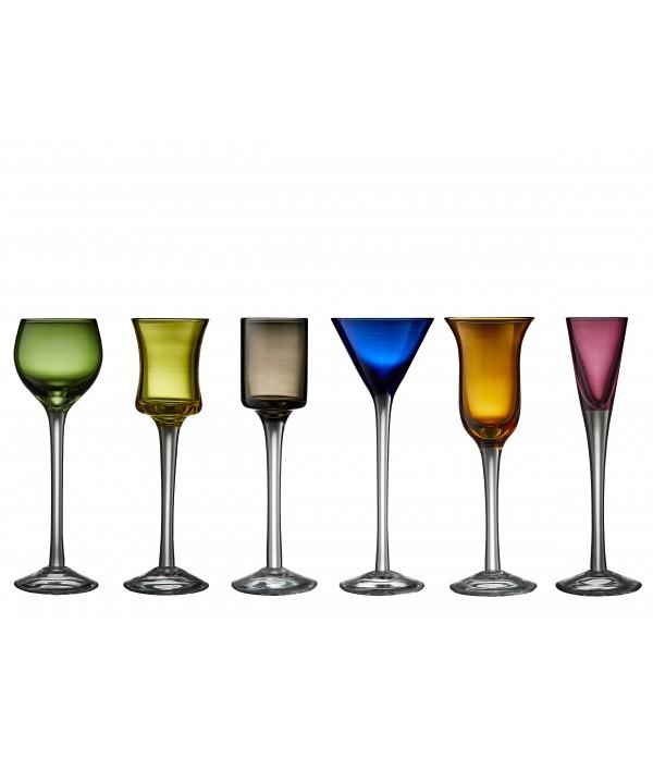 Aquavit glas, 6 stuks - Glas - Assorti
