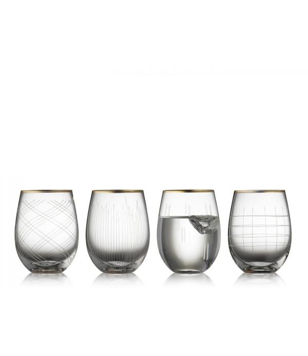 Drinkglas - Glas - Goud/Helder - Dia. 7,2 cm x H12...